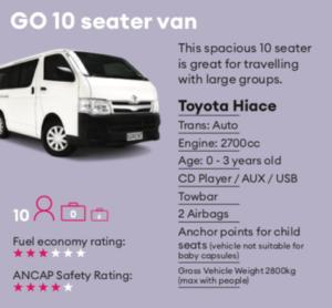 GO 10 seater van Mietwagen Neuseeland