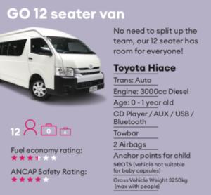 GO 12 seater van Mietwagen Neuseeland
