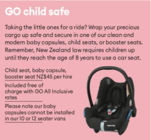 GO Kindersitze Mietwagen Neuseeland