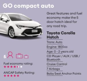 GO compact auto Mietwagen Neuseeland