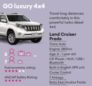 GO luxury Mietwagen Neuseeland