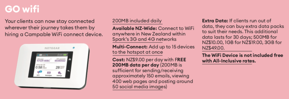 GO WLAN wifi Mietwagen Neuseeland