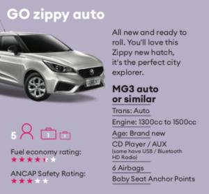 GO zippy auto Mietwagen Neuseeland